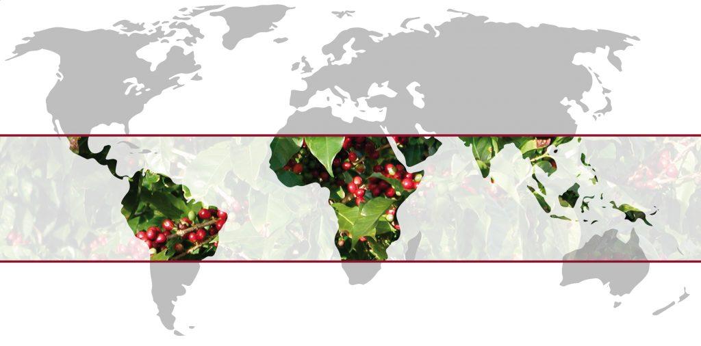 The Coffee Belt of coffee growing